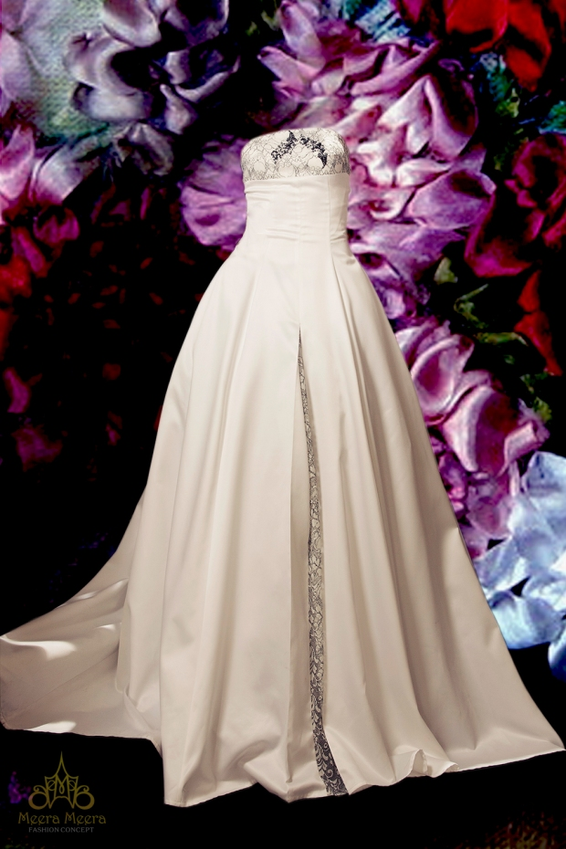 Áo cưới cúp ngực tùng xoè trên chất liệu satin sang trọng