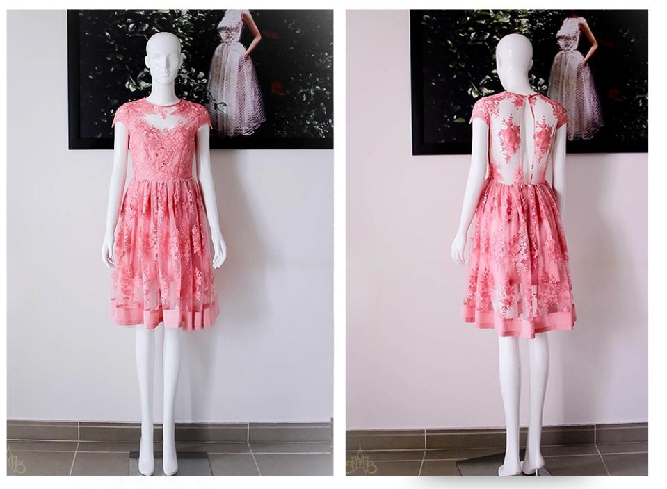 Đầm dạ tiệc ren màu hồng cam