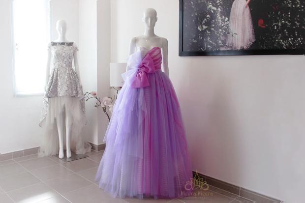 Áo cưới tùng xoè màu tím nhạt nhiều tầng bồng bềnh.  Mẫu khách hàng- mã KH1129