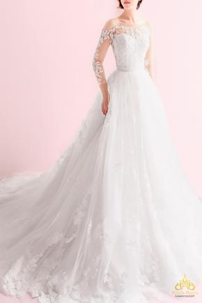 Áo cưới chữ A ren tay dài xẻ lưng KH1735